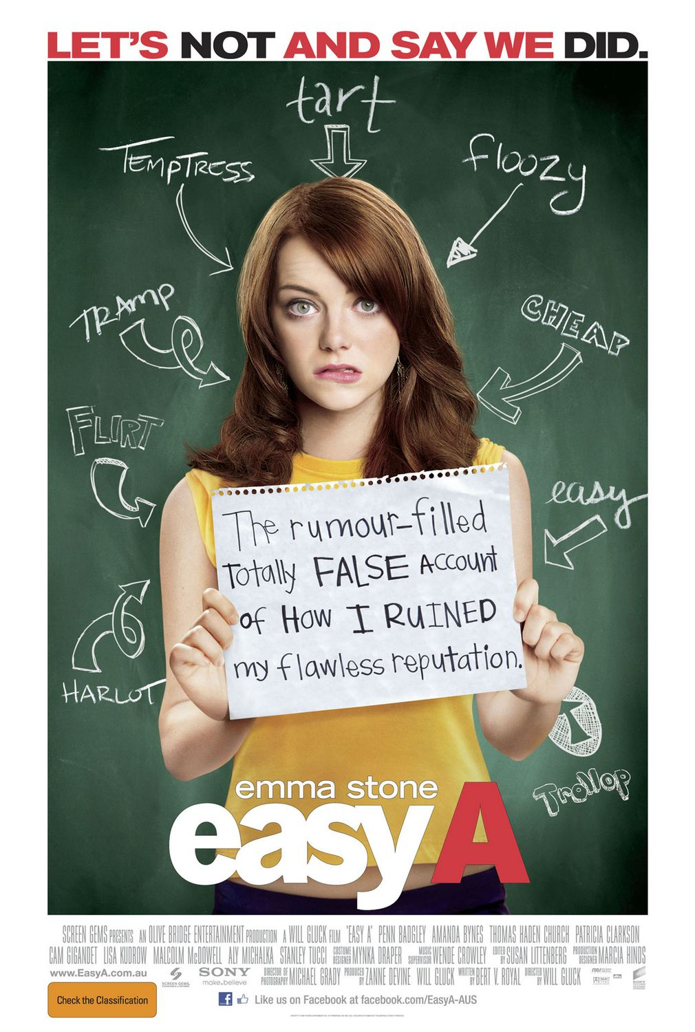 The film poster showing Olive (Emma Stone) in front of a blackboard. There are misogynist curses on the blackboard with arrows pointing at her. She holds a sign that reads: The rumour-filled totally FALSE account of HOW I RUINED my flawless reputation.