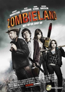 The film poster showing Tallahassee (Woody Harrelson), Columbus (Jesse Eisenberg), Wichita (Emma Stone) and Little Rock (Abigail Breslin), all with weapons in their hands.