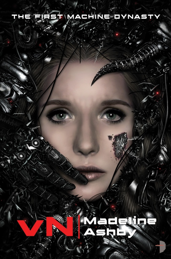 The book cover showing a woman's worried face surrounded by machinery. A part of her skin is missing, beneath it we can see more metal.