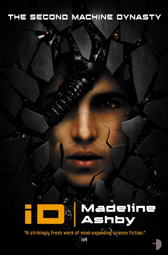 The book cover showing the face of a man surrounded by black shards and machinery.