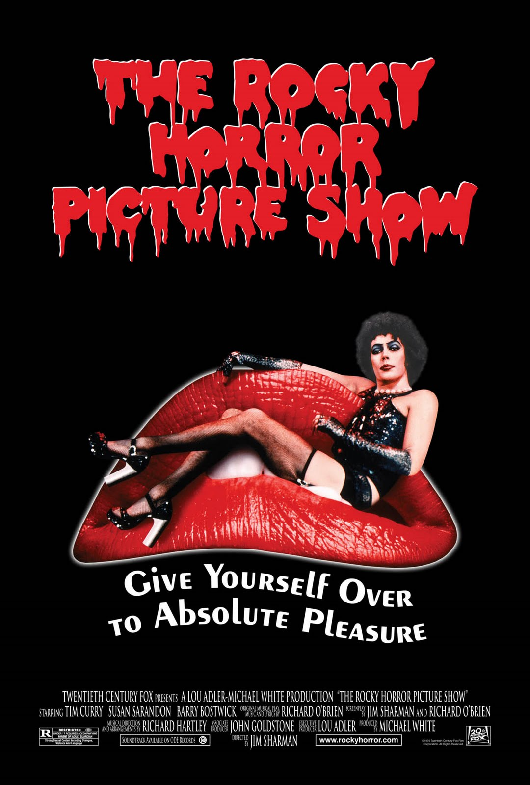 The film poster showing Frank N. Furter (Tim Curry) lounging in the oversized lips of a mouth.