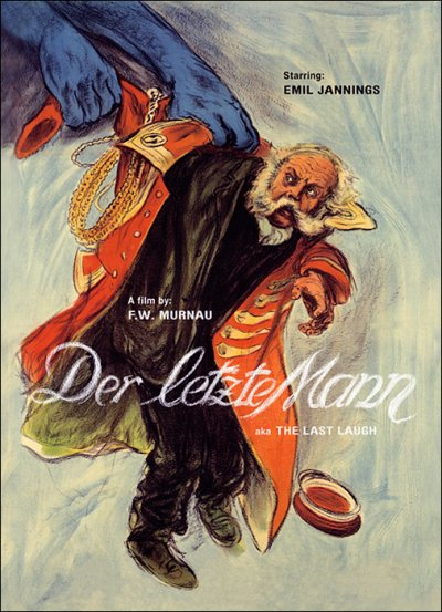 The film poster showing a drawing of the Doorman (Emil Jannings) whose uniform jacket is pulled from his body by two giant blue hands.