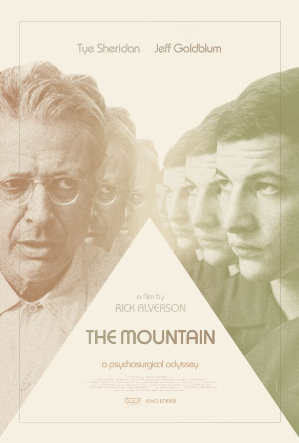 The film poster showing Jeff Goldblum and Tye Sheridan reflected several times as with multiple mirrors.