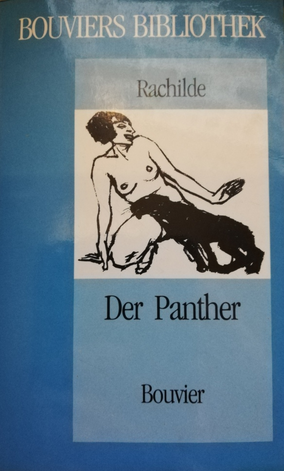 The book cover showing a simple drawing of a naked woman with a panther rubbing against her crotch.
