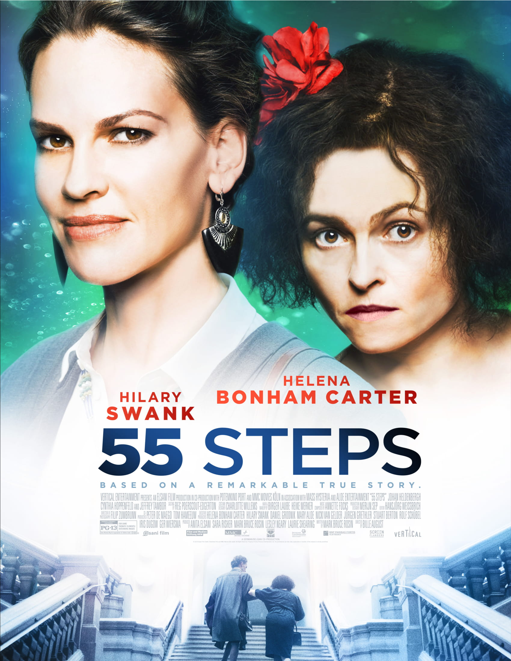 Film poster of 55 Steps, showing Hilary Swank and Helena Bonham Carter.