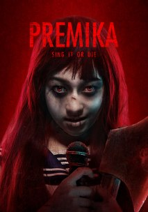 Film poster for Premika (2017), showing a smiling ghost or zombie girl with a microphone in her hand.