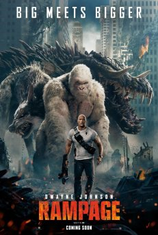 Film poster showing Dwayne Johnson in front of a huge gorilla, wolf and crocodile, walking purposefully, gun in hand.