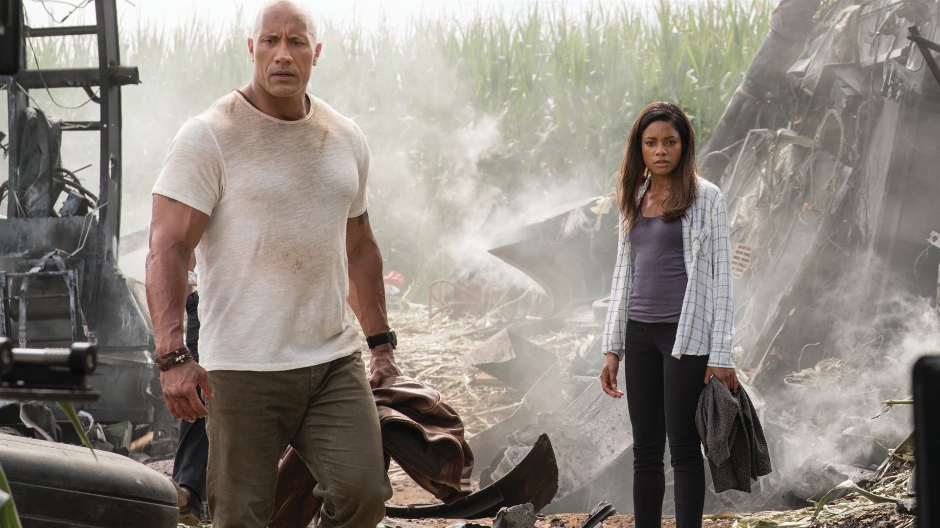 Dwayne Johnson and Naomie Harris in the film.