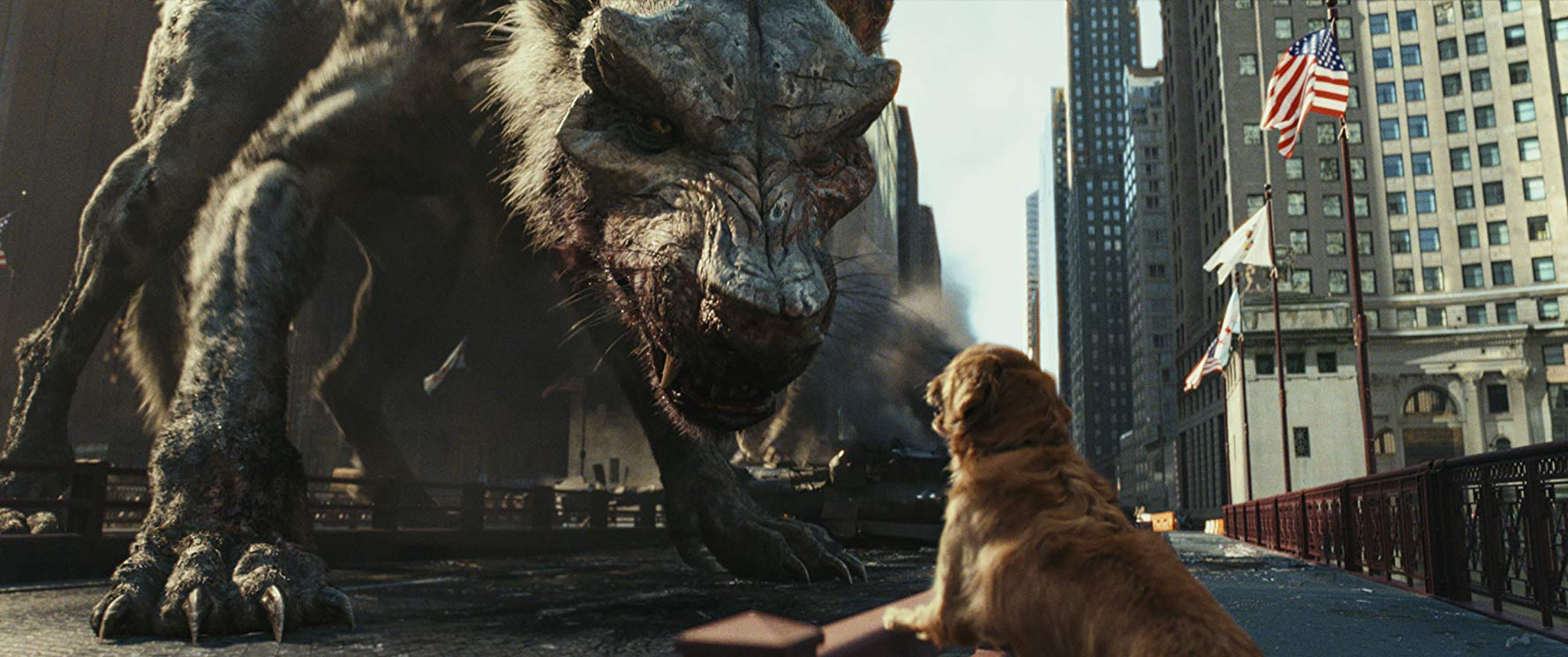 A giant wolf growling at a normal-sized dog.