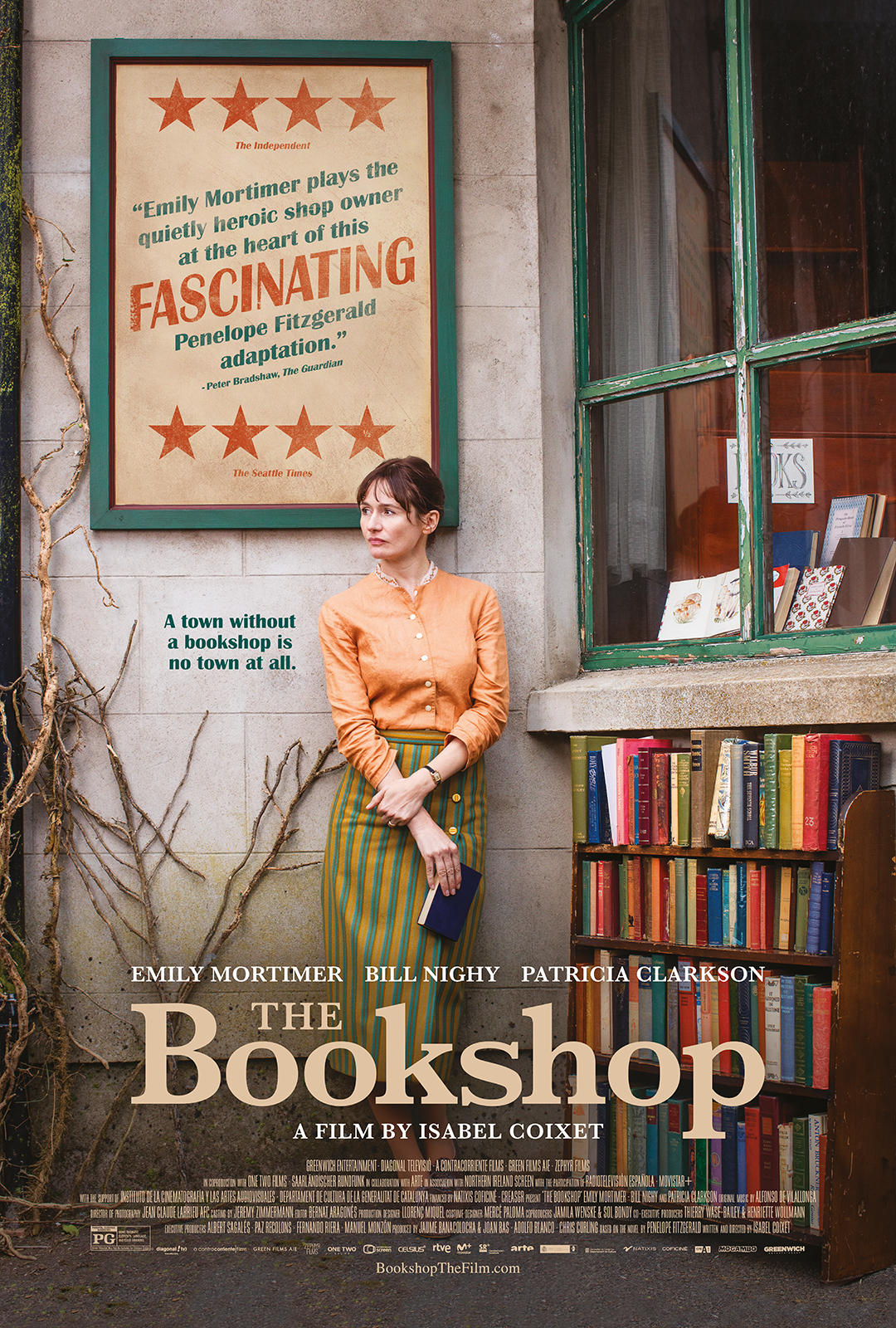 Film poster showing Emily Mortimer leaning against the wall of a book store.