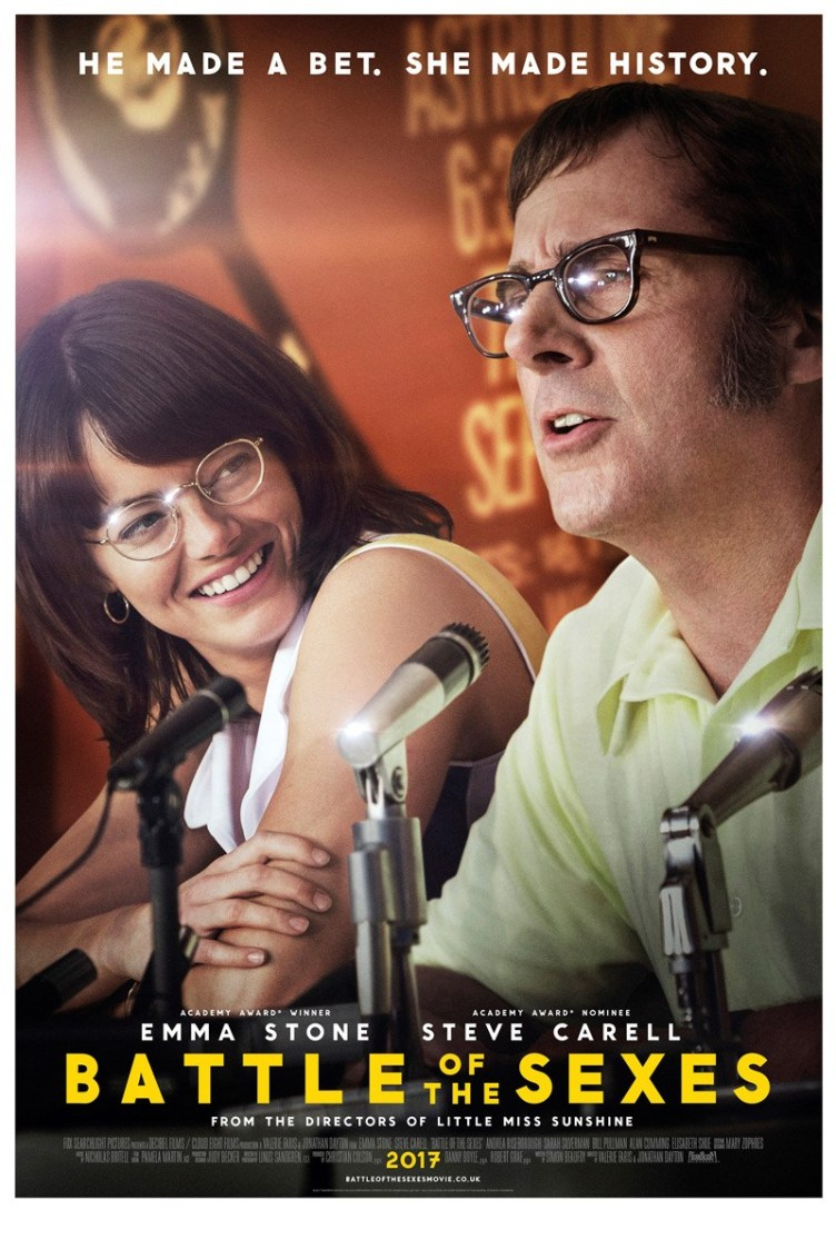 The film poster showing Emma Stone and Steve Carell.