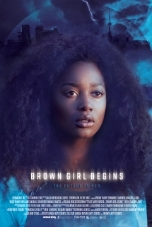 The film poster showing Mouna Traoré in front of a blue background witjy sjy and a city skyline.