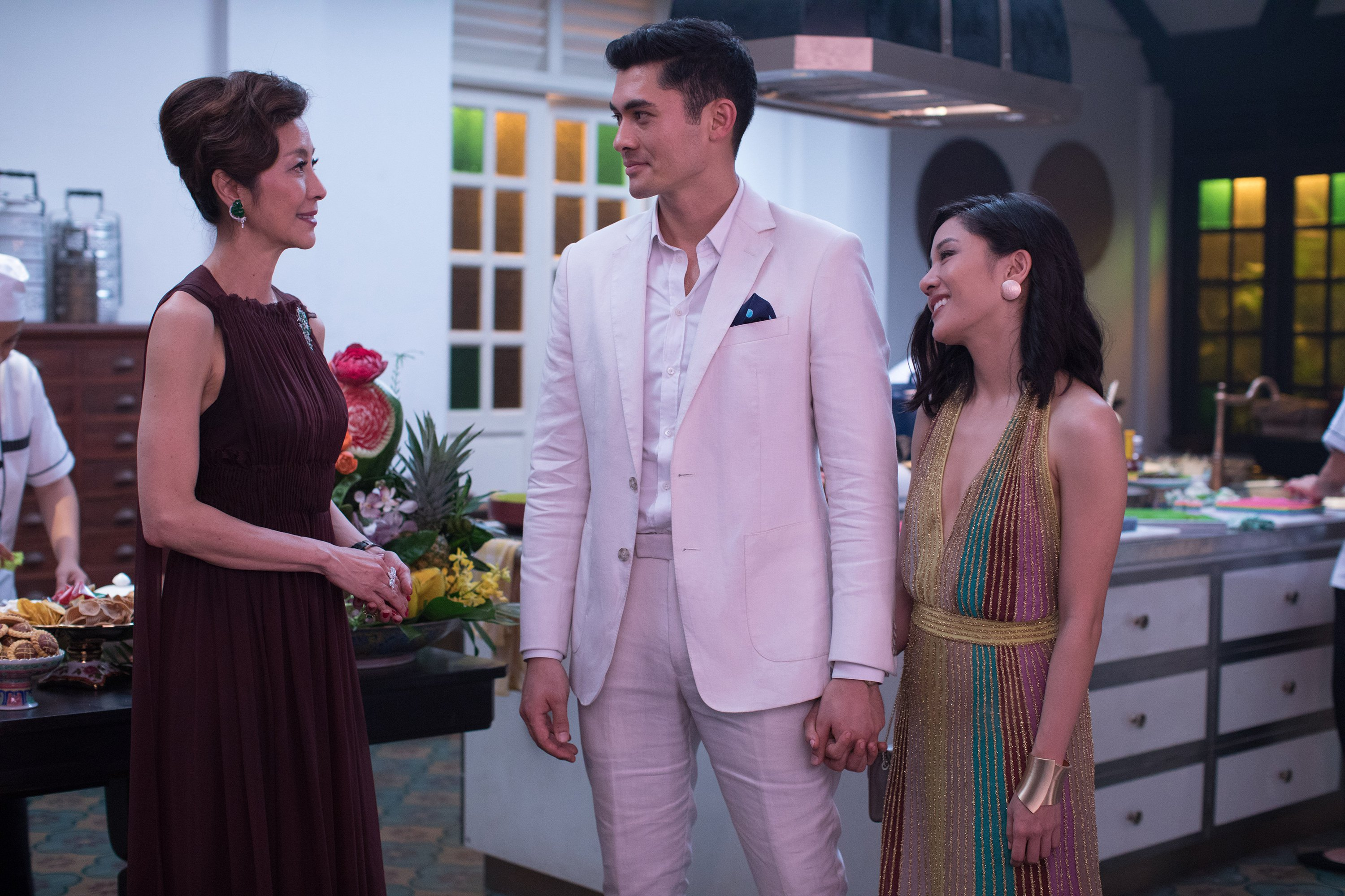 Michelle Yeoh, Henry Golding and Constance Wu in the film.
