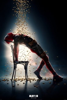 Film poster for Deadpool, showing him in the famous pose from Flashdance, only instead of water falling on him, it's bullets.