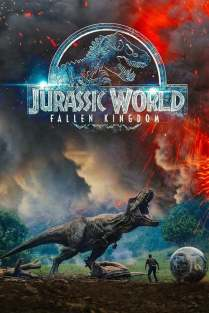 Poster for Jurassic World: Fallen Kingdom, showing a T-Rex roaring over a human.