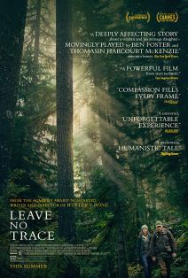 Film poster showing sunlight slanting through a redwood forest, with Ben Foster and Thomasin McKenzie very small in the corner walking through the forest.