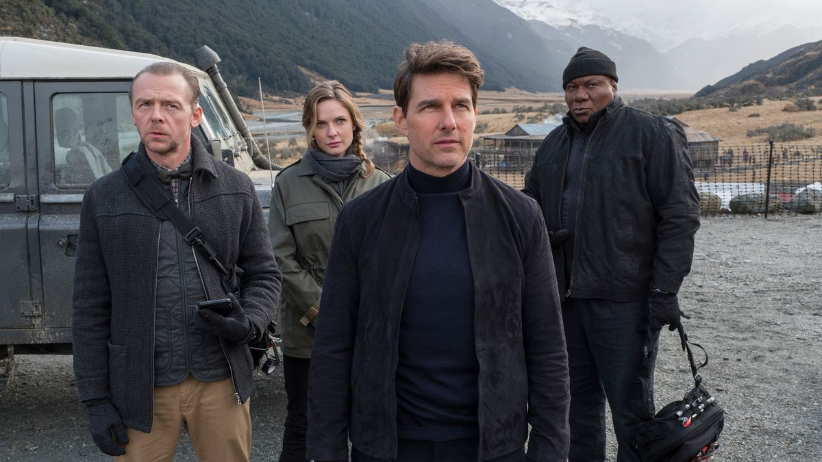Simon Pegg, Rebecca Ferguson, Tom Cruise and Ving Rhames in the film.