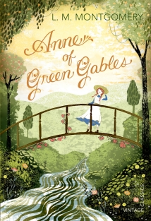 Book cover showing a drawing of a red-haired girl on a bridge over a small river.