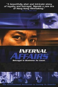 The film poster showing Andy Lau's and Tony Chiu-Wai Leung's eyes in super close-up.