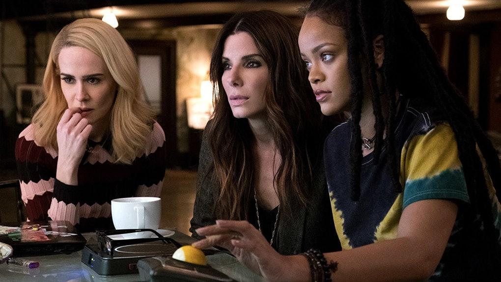Sarah Paulson, Sandra Bullock and Rihanna in the film.