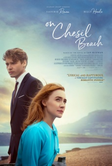 Film poster showing Billy Howle and Saoirse Ronan on a beach, looking in opposite directions.