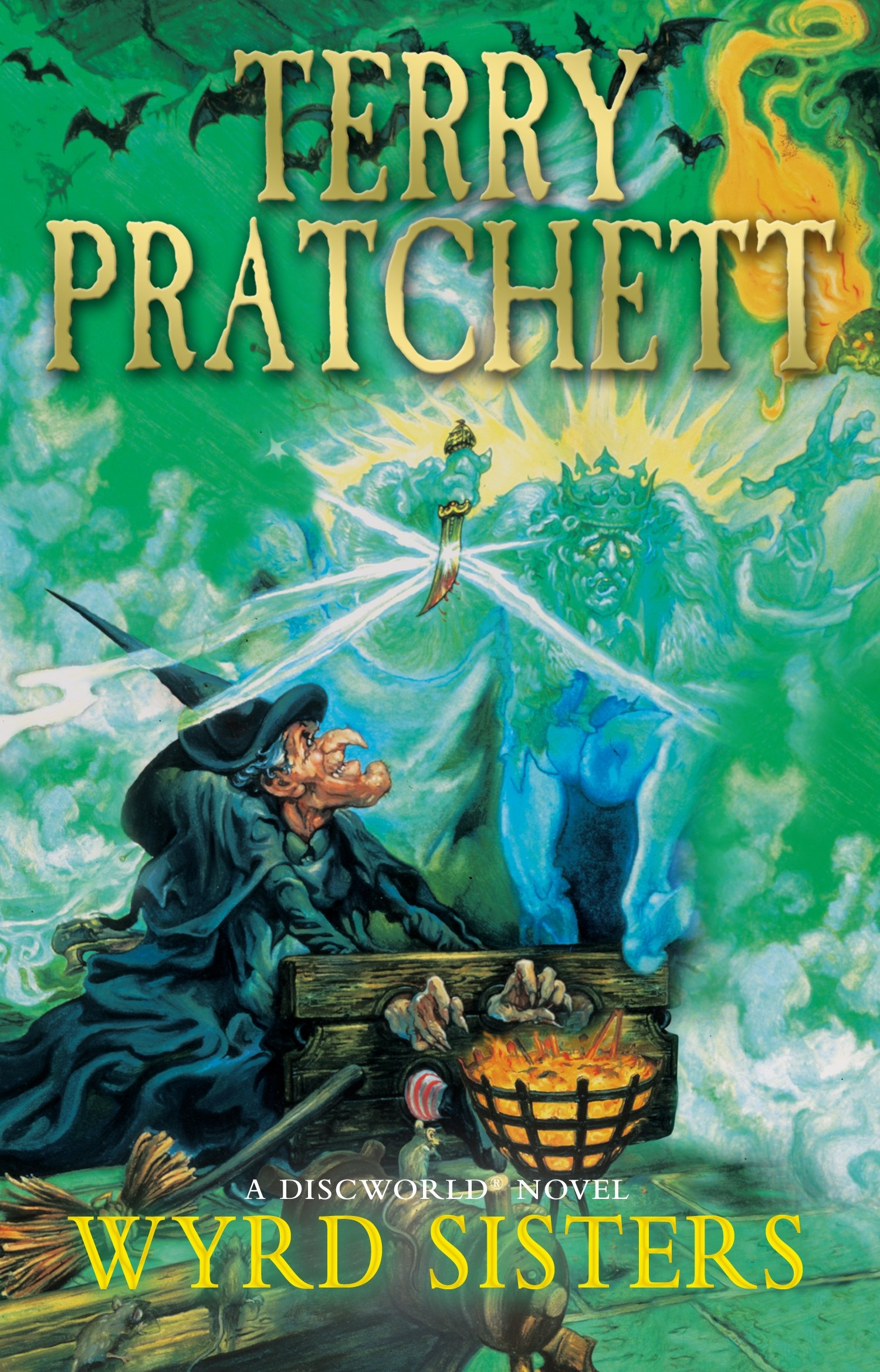 The cover of Wyrd Sisters by Terry Pratchett.