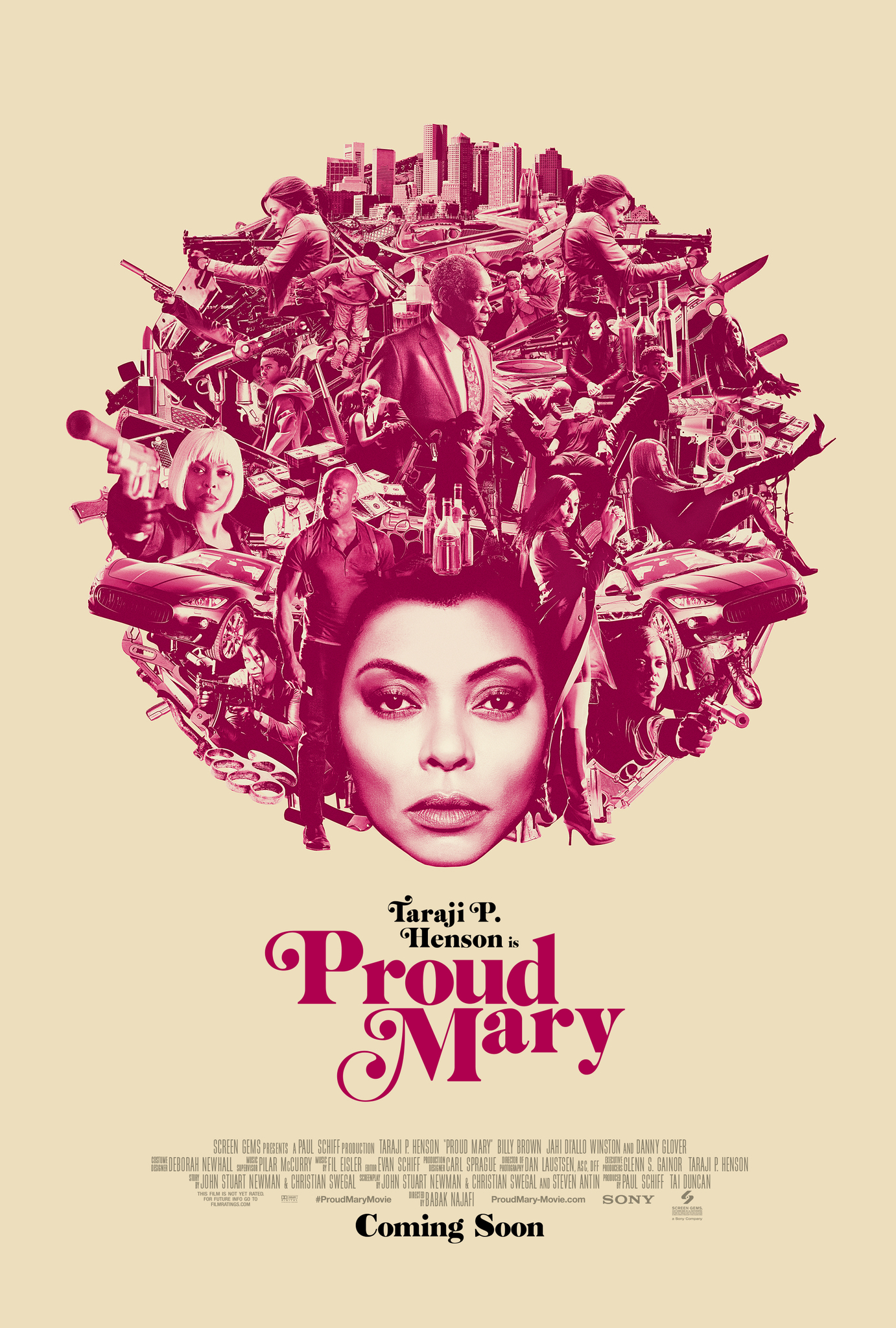 The film poster showing Taraji P. Henson's face in pink-and-white, with characters and scenes from the film arranged around her head to make an afro, also in pink-and-white.
