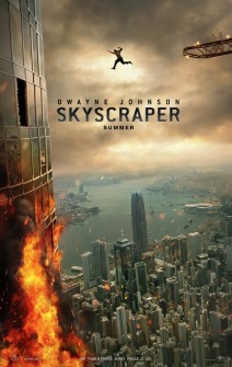 Filmposter showing Dwayne Johnson jumping from a crane towards a burning skyscraper.