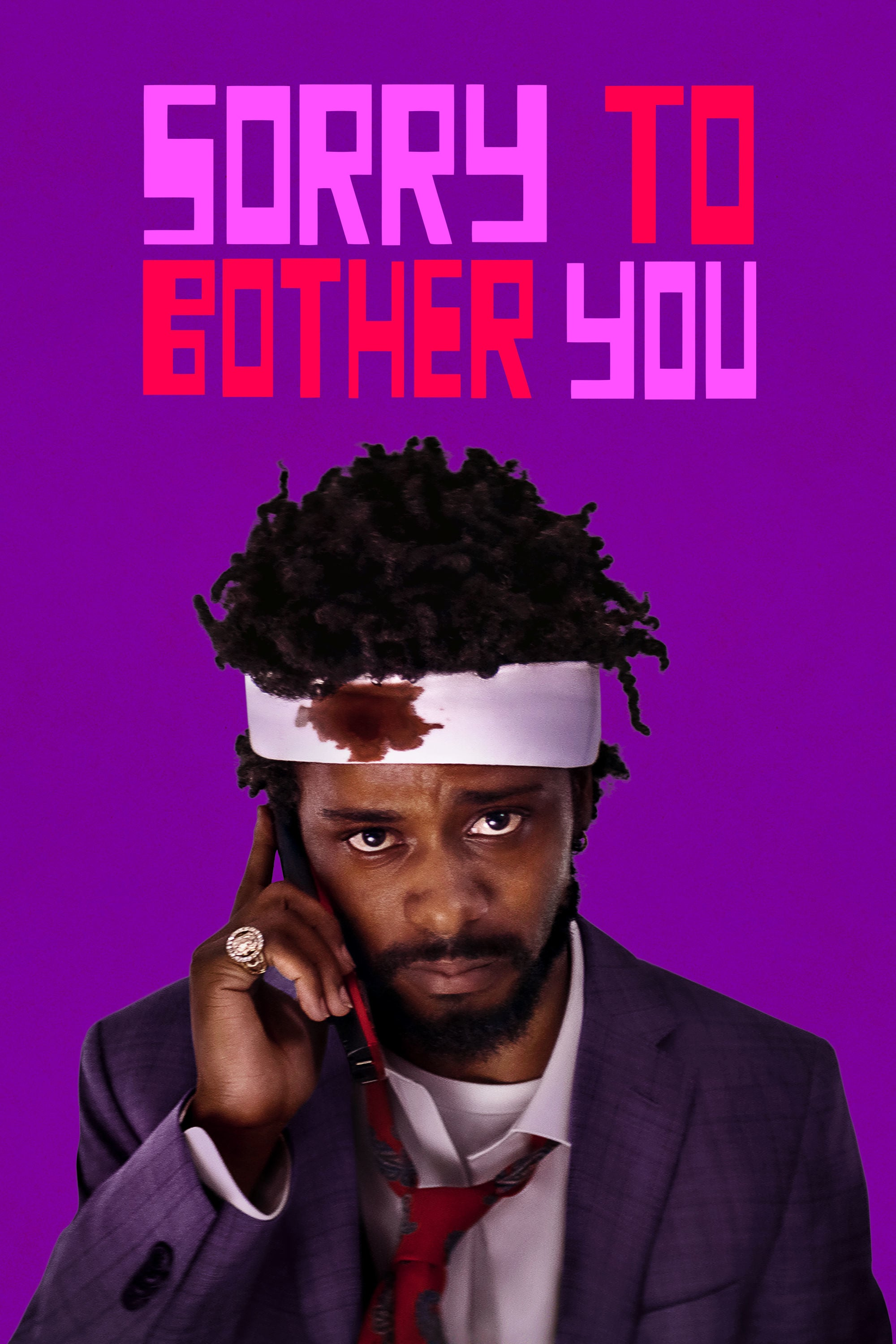 The film poster showing LaKeith Stanfield with a bandaged head.