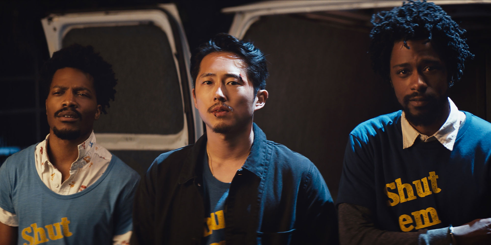 Jermaine Fowler, Steven Yeun and LaKeith Stanfield in the film.