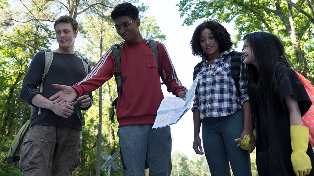Liam (HARRIS DICKINSON), Chubs (SKYLAN BROOKS), Ruby (AMANDLA STENBERG) and Zu (MIYA CECH) in the film.