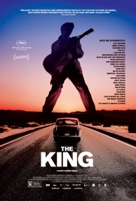 Film poster showing Elvis Presley's silhoutte against a sunset above his car driving on a straight road.