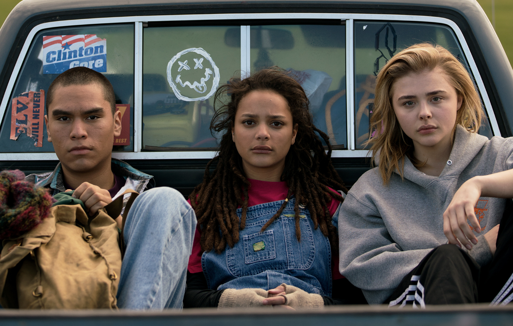 Forrest Goodluck, Sasha Lane and Chloe Grace Moretz in the film.