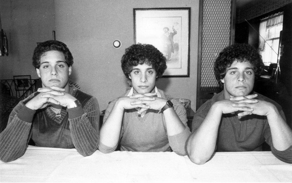 Triplets posing in the same way: Robert Shafran, Michael Domnitz, Howard Schneider.