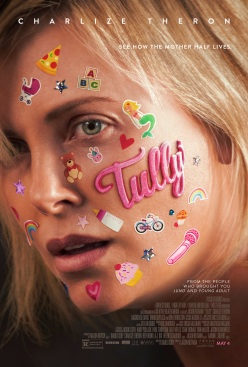 Film poster showing a close-up of Charlize Theron's face covered in stickers, looking exhausted.