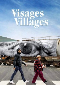 Film poster showing JR and Agnès Varda walking in front of a tank truck with an eye printed on it.