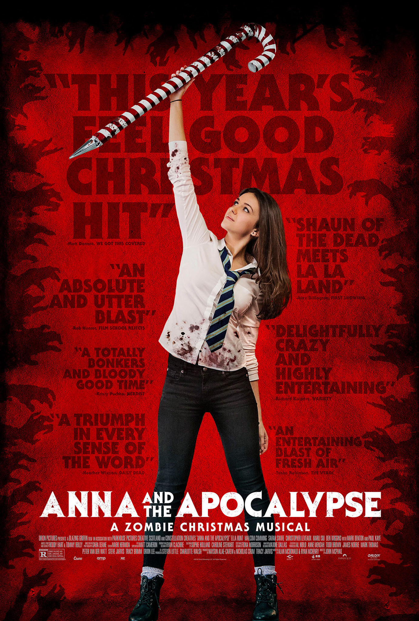 The film poster showing Ella Hunt raising a giant sharpened candy cane.