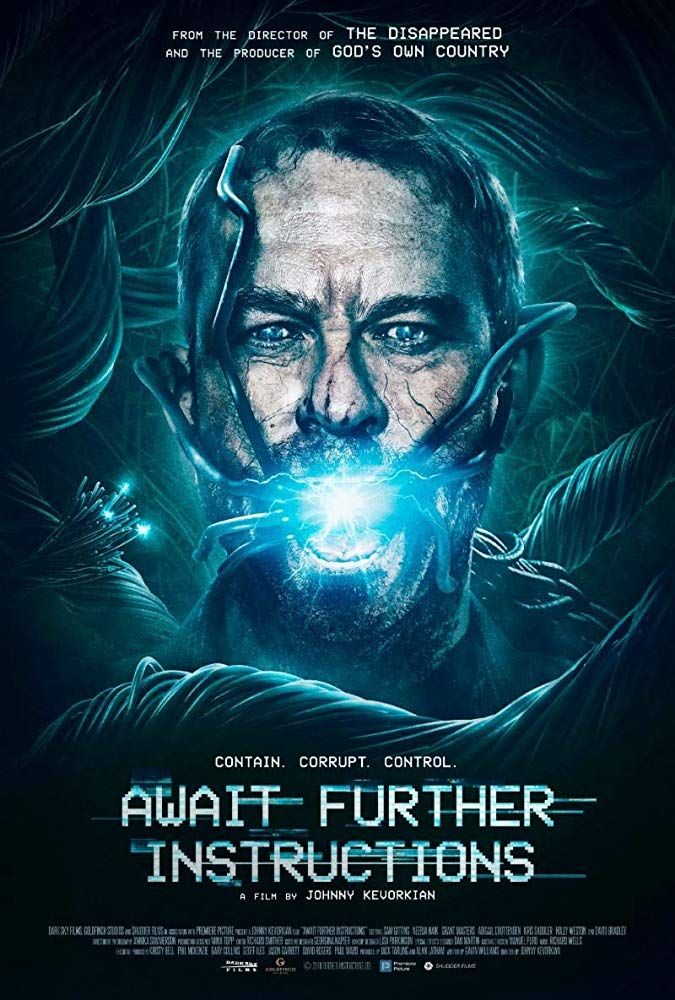 The film poster showing a drawing of Grant Masters with cables coming out of his mouth.