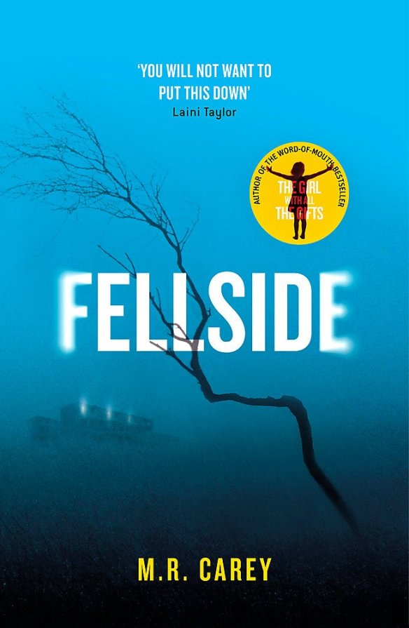 The book cover showing a dead branch in front of a foggy blue background. In the distance we can just make out a big building.
