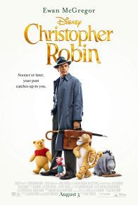 The film poster showing Ewan McGregor with Winnie-the-Pooh, Piglet, Tigger and Eeyore.