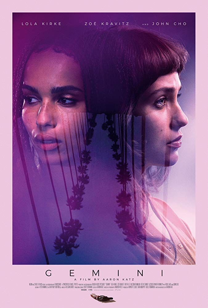 The film poster showing Zoe Kravitz and Lola Kirke superimposed over the upside down image of a street lined with palm trees.