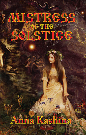 The book cover showing the drawing of a woman dressed in white with a flower crown in a forest.