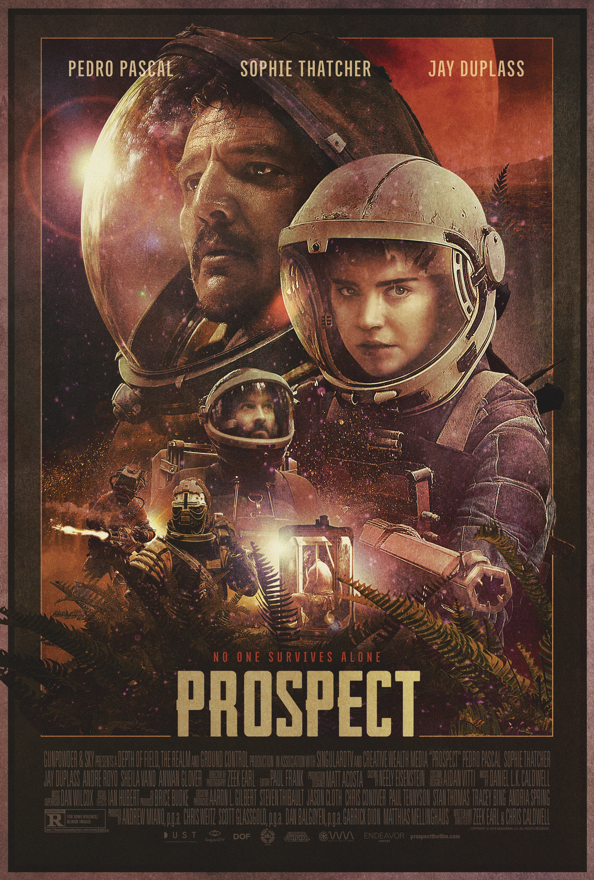 The film poster showing Pedro Pascal, Sophie Thatcher and Jay Duplass wearing spacesuits.