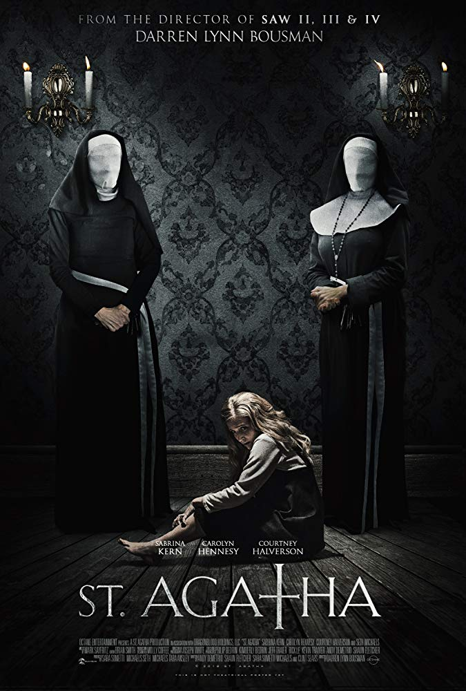 The film poster showing two nuns with covered faces standing over a girl cowering on the floor.