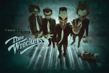 Poster for the tetralogy showing the animated version of the band.
