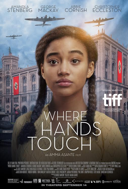 The film poster showing Amandla Stenberg in front of a building with nazi flags and airplanes flying over it.