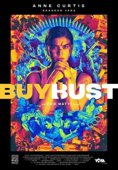 The film poster showing a woman with her fist in her hand in front of a colorful background.