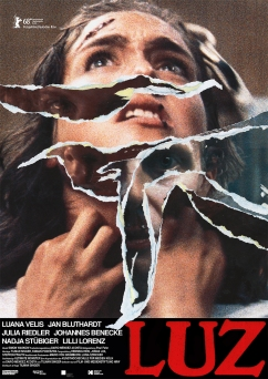 The film poster showing a woman's face with rips in the poster paper showing different faces beneath.