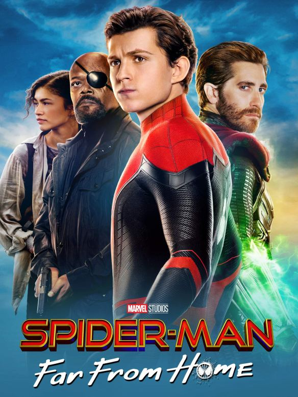 The filmposter showing MJ (Zendaya), Nick Fury (Samuel L. Jackson), Peter in Spider-Man gear (Tom Holland) and Mysterio (Jake Gyllenhaal) standing in a V-shape with Peter at the front.
