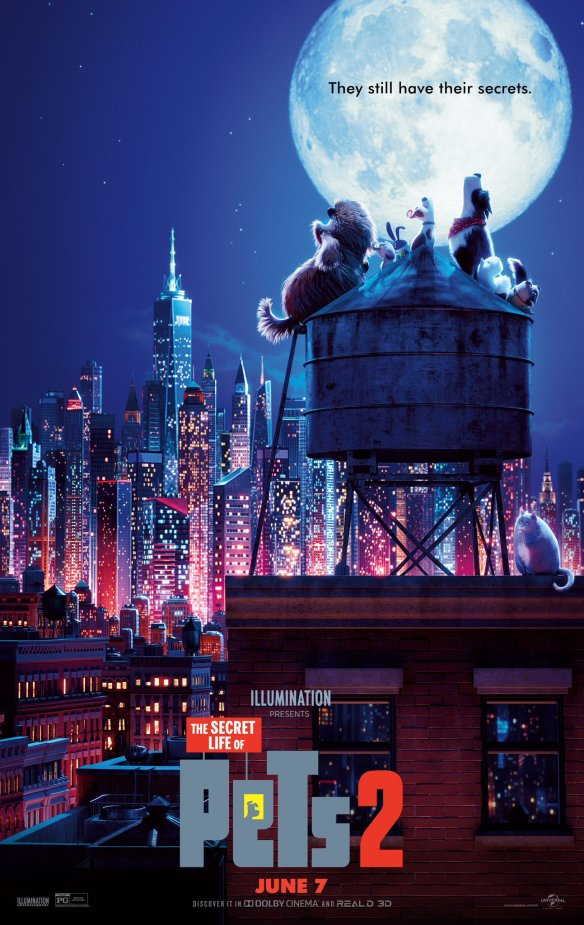 The film poster showing a group of dogs sitting on a water tower on a city rooftop, howling at the moon.